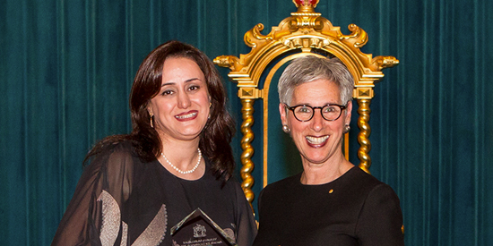 Dr Matin Ghayour-Minaie (left) and Victorian Governor the Honourable Linda Dessau AC at Victoria's Multicultural Awards for Excellence