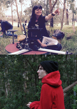 From top: Deakin filmmaker Dr Donna McCrae; actor Adele Perovic as Lucy in Dr McCrae's feature film