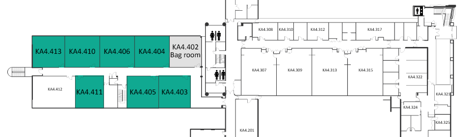 Map indicating the location of the rooms listed for Building KA
