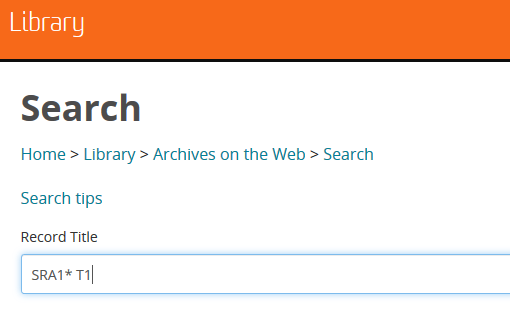 Screenshot of archived unit guides more advanced search field