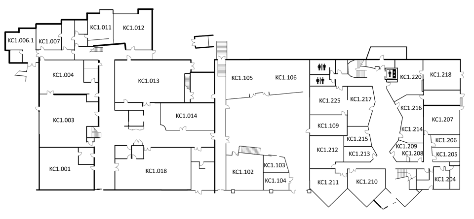 Map indicating the location of the rooms listed for Building KC, level 1