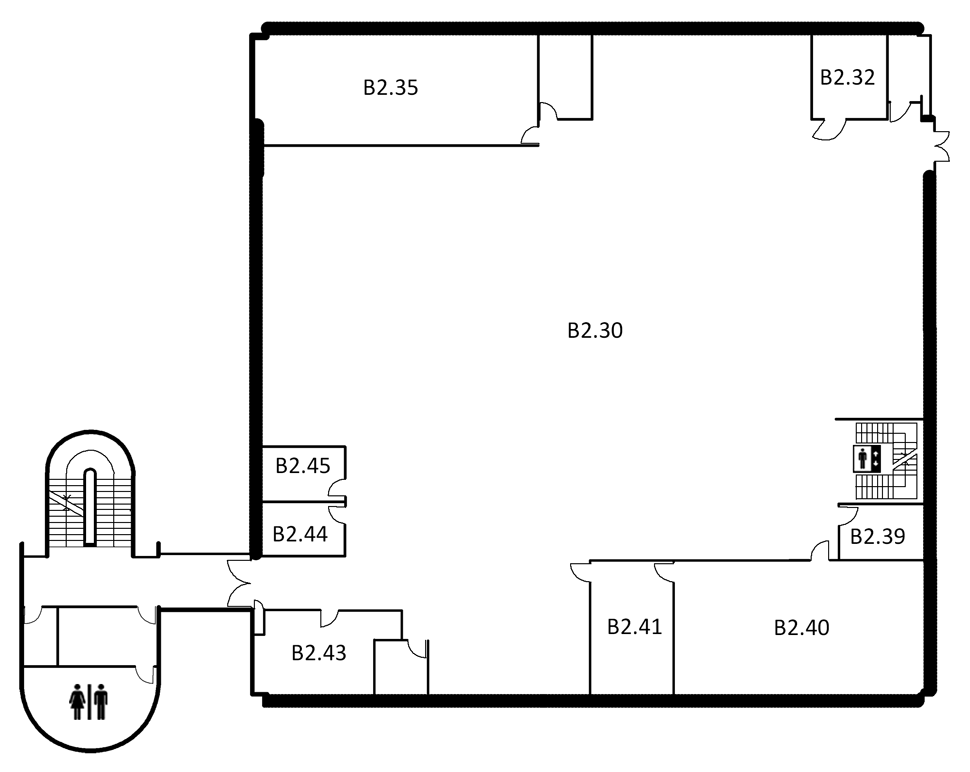 Map indicating the location of the rooms listed for Building B, level 2