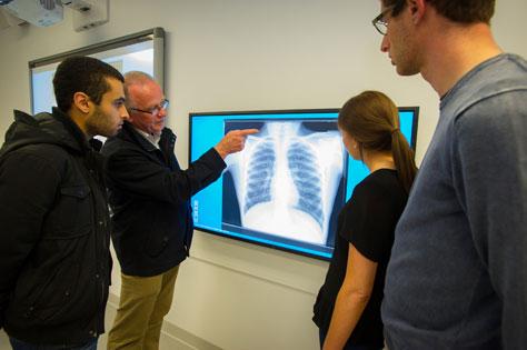 students looking at x-ray