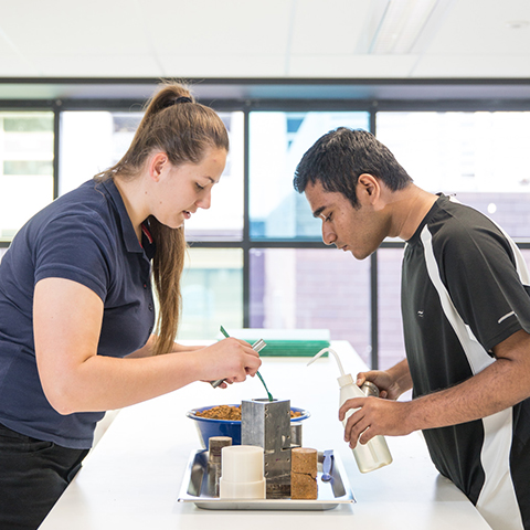 Male and Female student working together