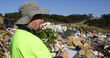 Dr Trevor Thornton auditing a landfill site