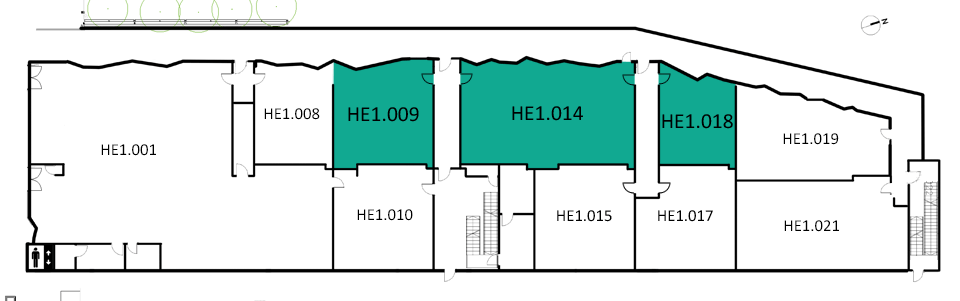 Map indicating the location of the rooms listed for Building HE, level 1