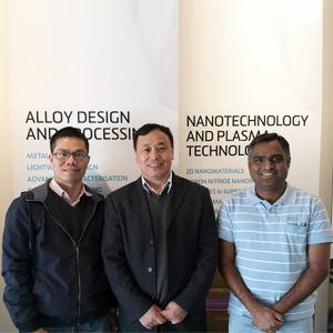 (from left) Dr Jiangting Wang, Professor Ying (Ian) Chen and Dr Srikanth Mateti