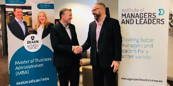 Deakin MBA Director A/Prof Colin Higgins and IML ANZ Head of Partnerships Simon Shenton.