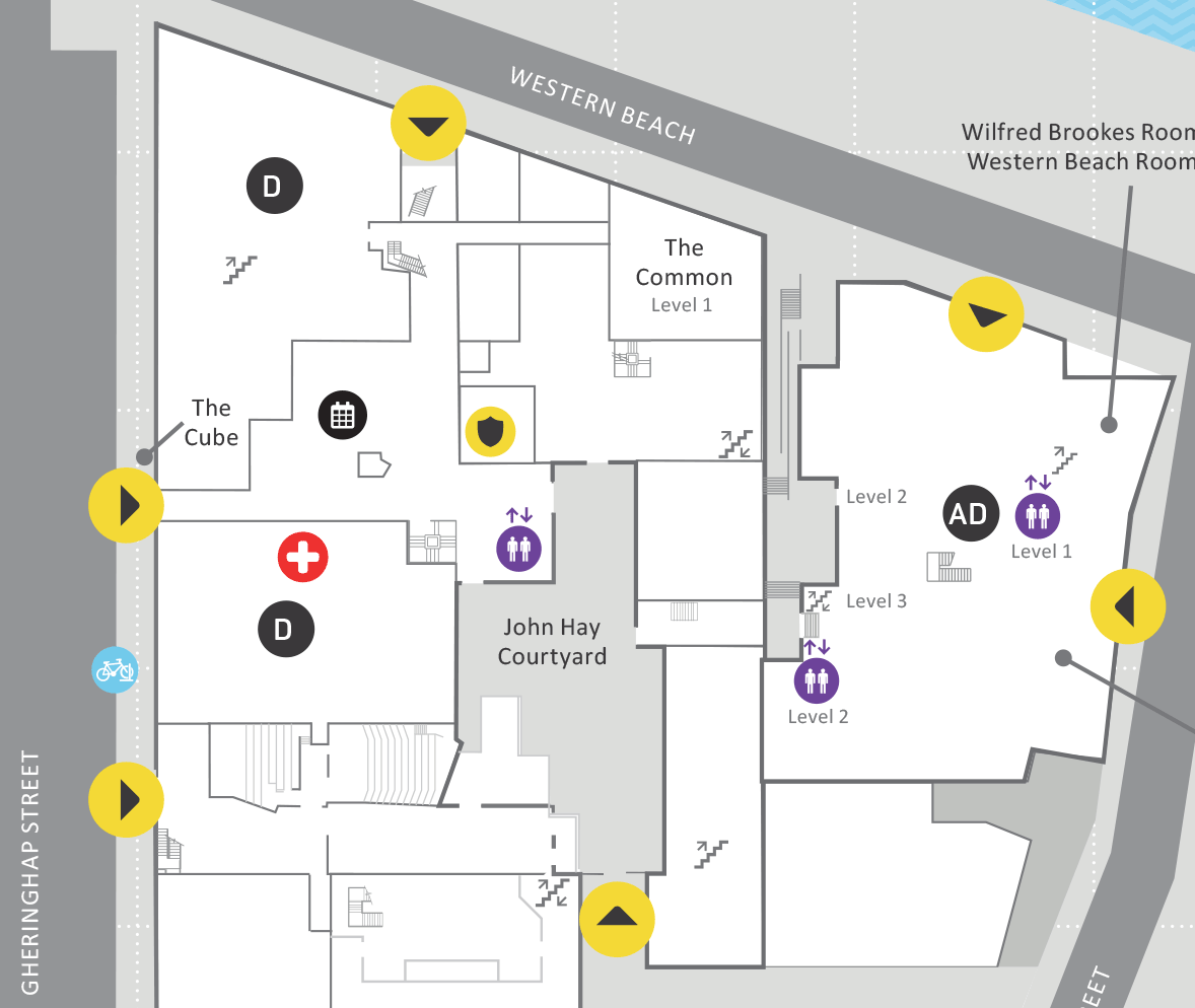 Map of Waterfront Campus displaying buildings where exams are located