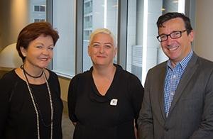 Deakin Vice-Chancellor, Professor Jane Den Hollander, HuNI Project Director, Professor Deb Verhoeven and Deputy Director of NeCTAR, Dr Nigel Ward.