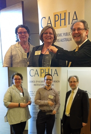 Professor Jane Speight, Director of the ACBRD (top) and Dr Erik Martin receive their awards from Prof Catherine Bennett, President of CAPHIA (left) and Professor Mike Daube AO, Curtin University.