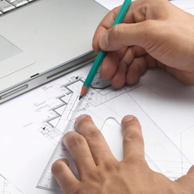 architecture and built environment discipline pages research module, closeup of hands sketching architectural drawings