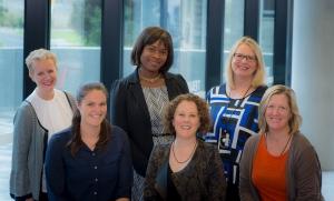 From left to right: Prof Tracey Bucknall, Dr Emily Tomlinson, Dr Helen Rawson, Prof Alison Hutchinson, Adjunct Prof Cheyne Chalmers and Assoc Prof Bernice Redley.