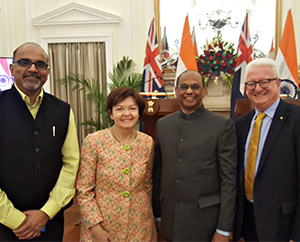 From left: Dr Alok Adholeya, Honorary Professor and Director, TDNBC; Prof Jane den Hollander AO, Vice-Chancellor, Deakin; Dr Ajay Mathur, Director General, TERI; and Mr John Stanhope AM, Chancellor, Deakin.