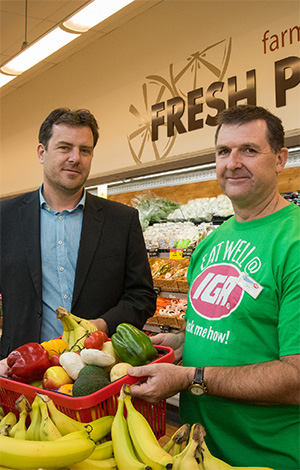 Dr Adrian Cameron (left) and Mr Owen Marston, manager of  Grovedale East SUPA IGA