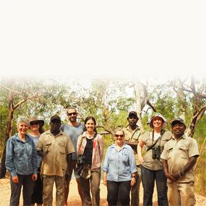 Assoc Prof Jane Elith (University of Melbourne, UM), Dr Marg Ayre (UM), Colin Kerinaiua (Tiwi ranger), Dr Brett Murphy (Charles Darwin University), Dr Gurutzeta Guillera-Arroita (UM), Kate Hadden (Tiwi Land Council), Vivian Kerinaiua (Tiwi Ranger), Dr Emily Nicholson (Deakin) and Willie Rioli (Tiwi Ranger).                              Photo: courtesy Jose Lahoz-Monfort.