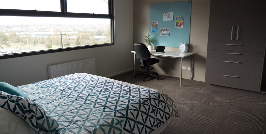 Bedroom with study nook at Geelong Waurn Ponds Campus