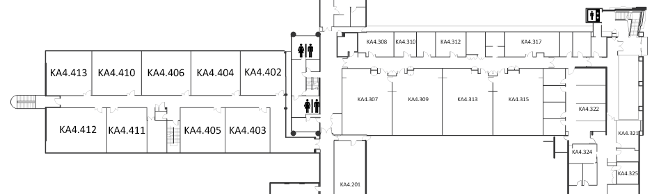 Map indicating the location of the rooms listed for Building KA, level 4