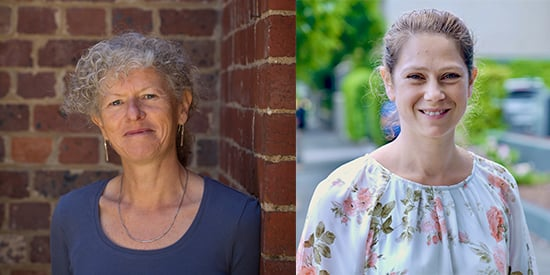 """Dr Christel Hendrieckx and Dr Edith Holloway (left to right) will lead a two-year research program, """"Low Intensity mental health Support via Telehealth Enabled Network (LISTEN) for adults with diabetes and cardiovascular disease"""" ($748, 384)."""