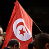 Tunisian flag in a crowd
