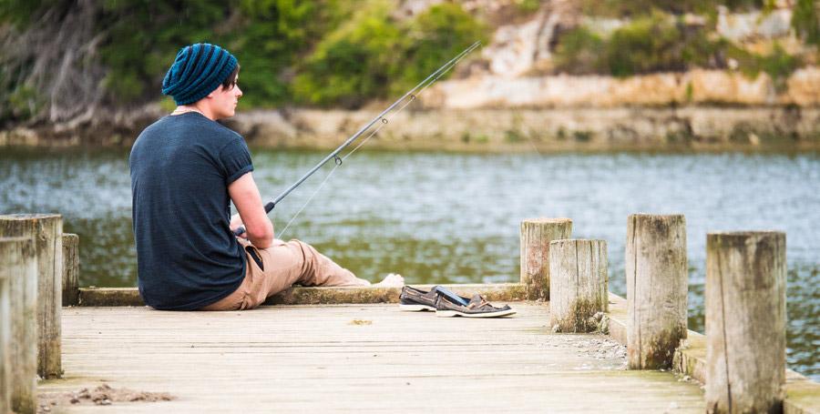 male fishing