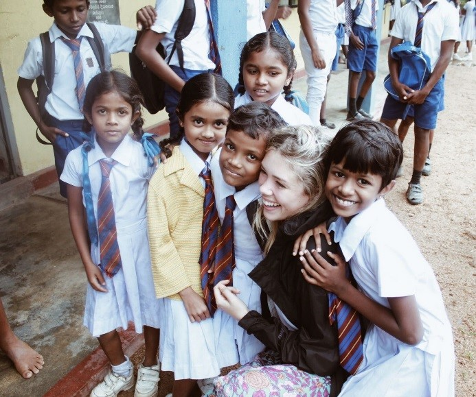 Jessica meets students at a school in the Wavinna village
