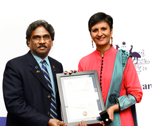 Dr Muthuswamy Balasubramanyam with Ms Harinder Sidhu, Australia's High Commissioner to India.