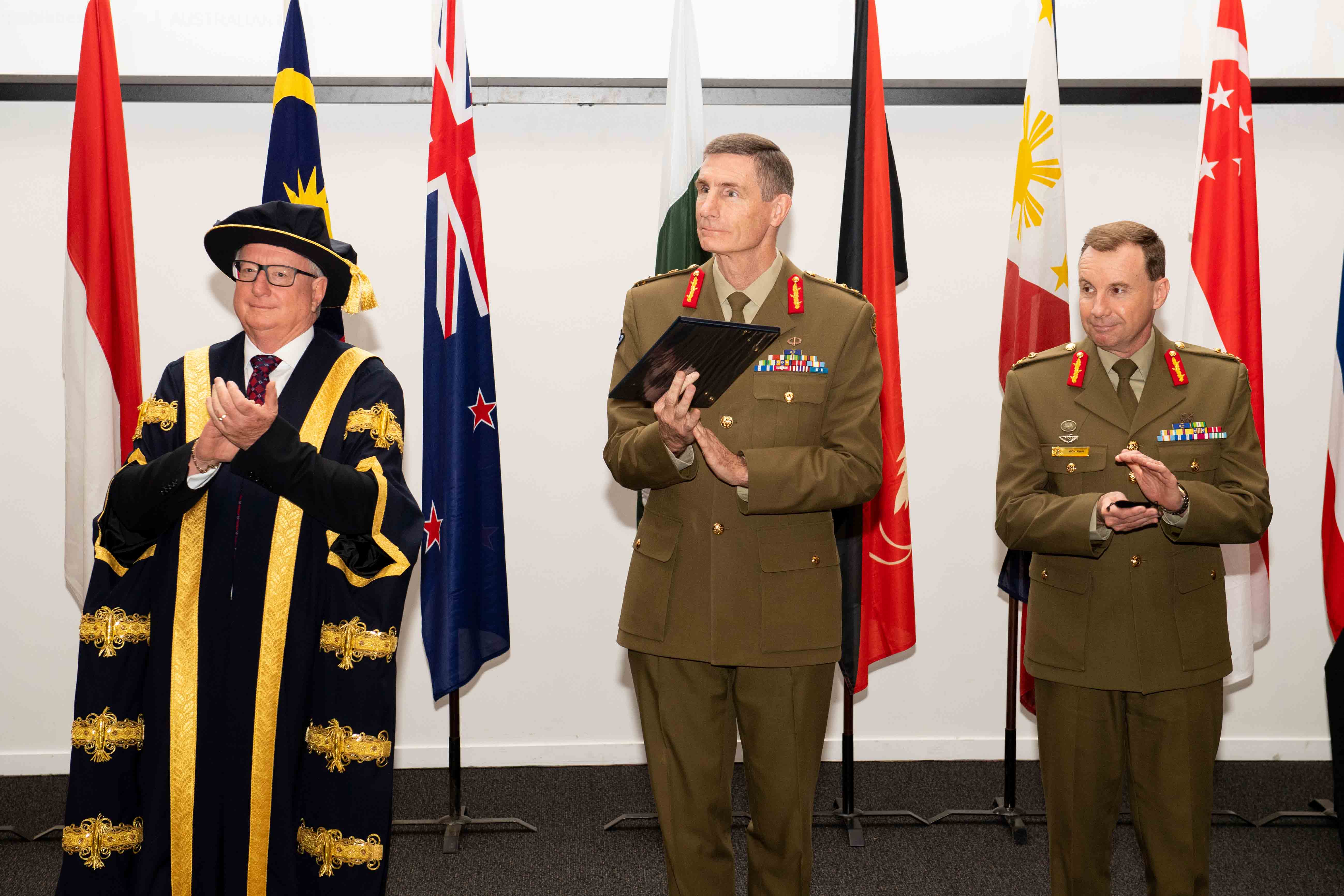 From left: Mr John Stanhope, AM, Chancellor; General Angus Campbell, AO, DSC Chief of the Defence Force and Major General Mick Ryan, AM, Commander Australian Defence College