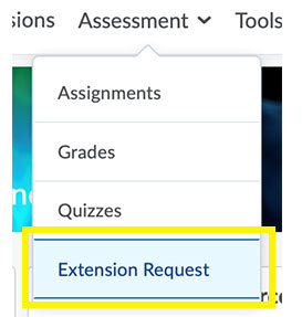 extension request menu item