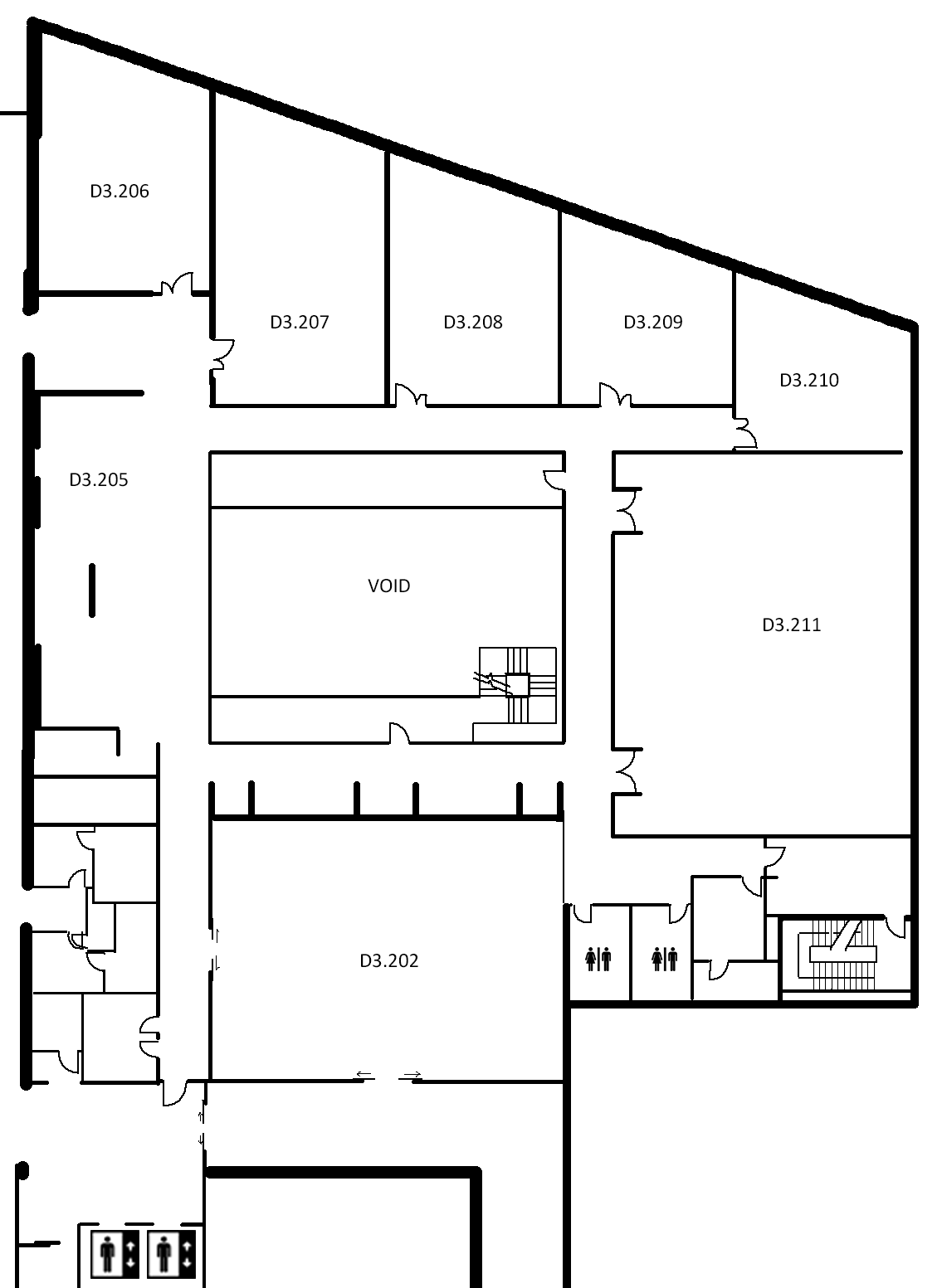 Map indicating the location of the rooms listed for Building D, level 3