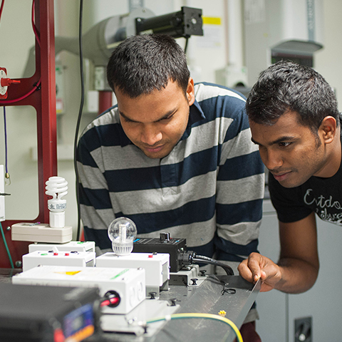 Two male students looking at a circuit with lightbulbs