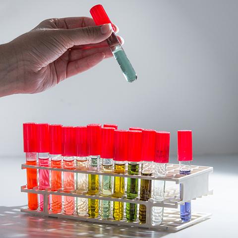 Coloured liquid samples