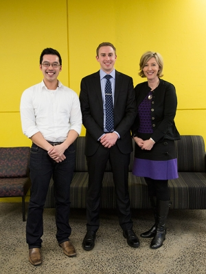 3MT winners - Michael Do, Morgan Burcher and Jane Wilcox.