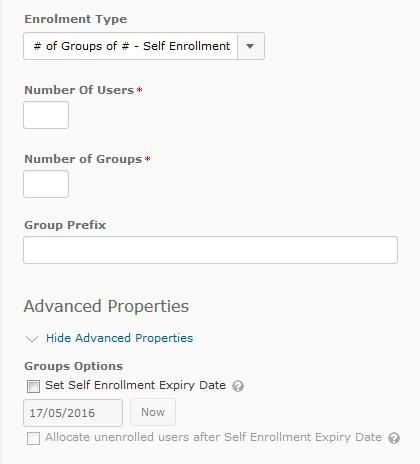 Creating self enrolment groups