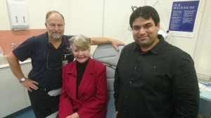 Mr Brenton Cadd (Manager, Facial Prosthetics, Royal Melbourne Hospital), Ms Colleen Murray and Deakin's Dr Mazher Mohammed.