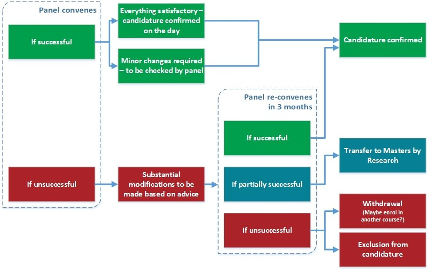 A flow diagram showing the possible outcomes from the confirmation process.