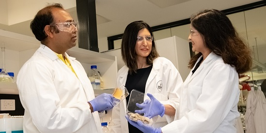 L-R: PhD candidate Abu Naser Md Ahsanul Haque, Dr Maryam Naebe, and Assoc Research Fellow Dr Rechana Remadevi