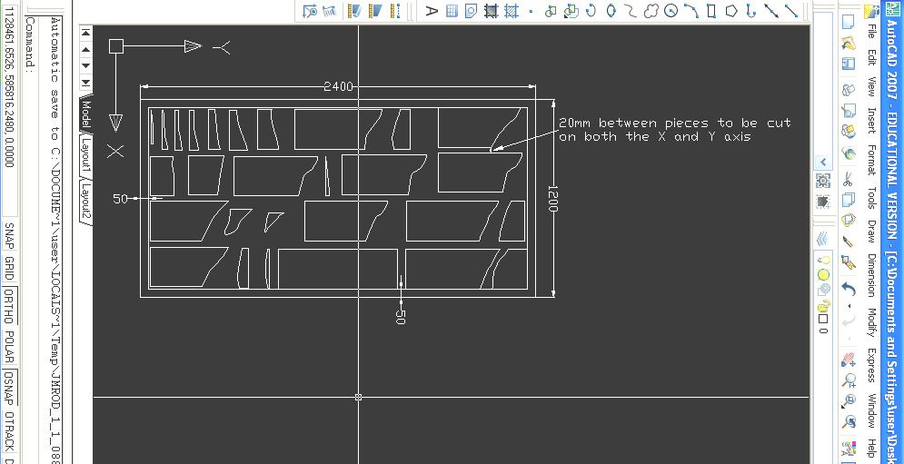 drawing set up in program example