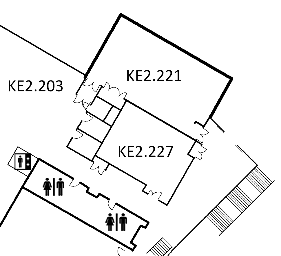 Map indicating the location of the rooms listed for Building KE, level 2