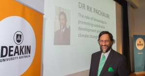 Image of Dr RK Pachauri in Melbourne