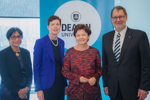 From left: PRaDA Director, Professor Svetha Venkatesh; Victoria's Lead Scientist, Dr Amanda Caples; Deakin University Vice Chancellor, Professor Jane den Hollander AO; Garvan Executive Director, Professor John Mattick AO FAA