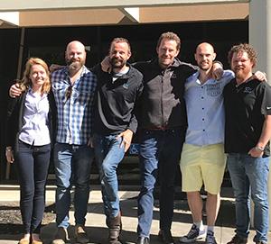 L-R Deakin alumni Jessica Terry, Josh Delaney, Chris Hindson, Ben Hindson, Geoff McDermott, Adam Lowe