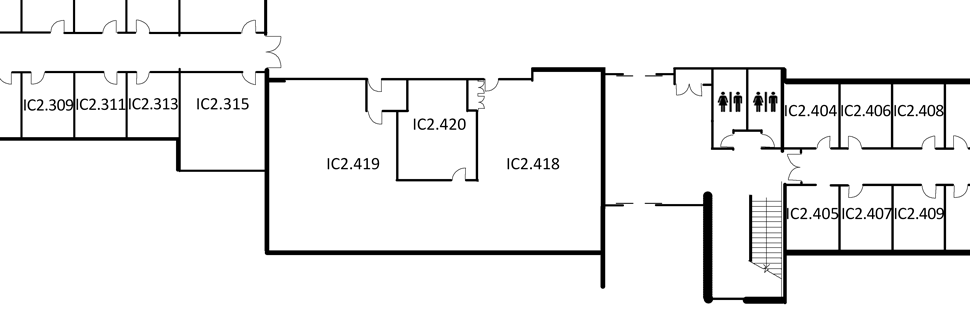 Map indicating the location of the rooms listed for Building IC, level 2