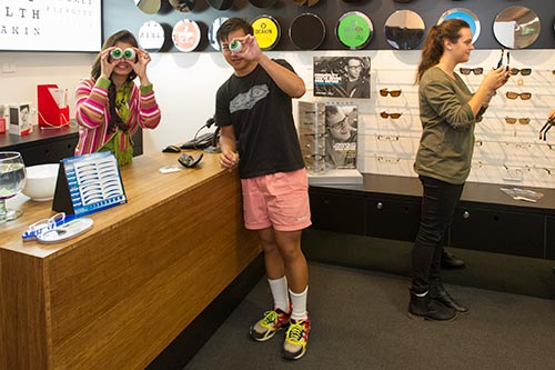 optometry students in the mock ractice