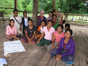 Liz Eckermann with villagers in Attepeu (Lao PDR)