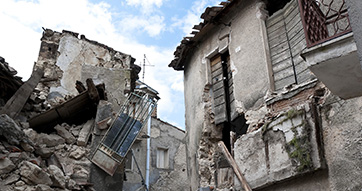 An image of a damaged building