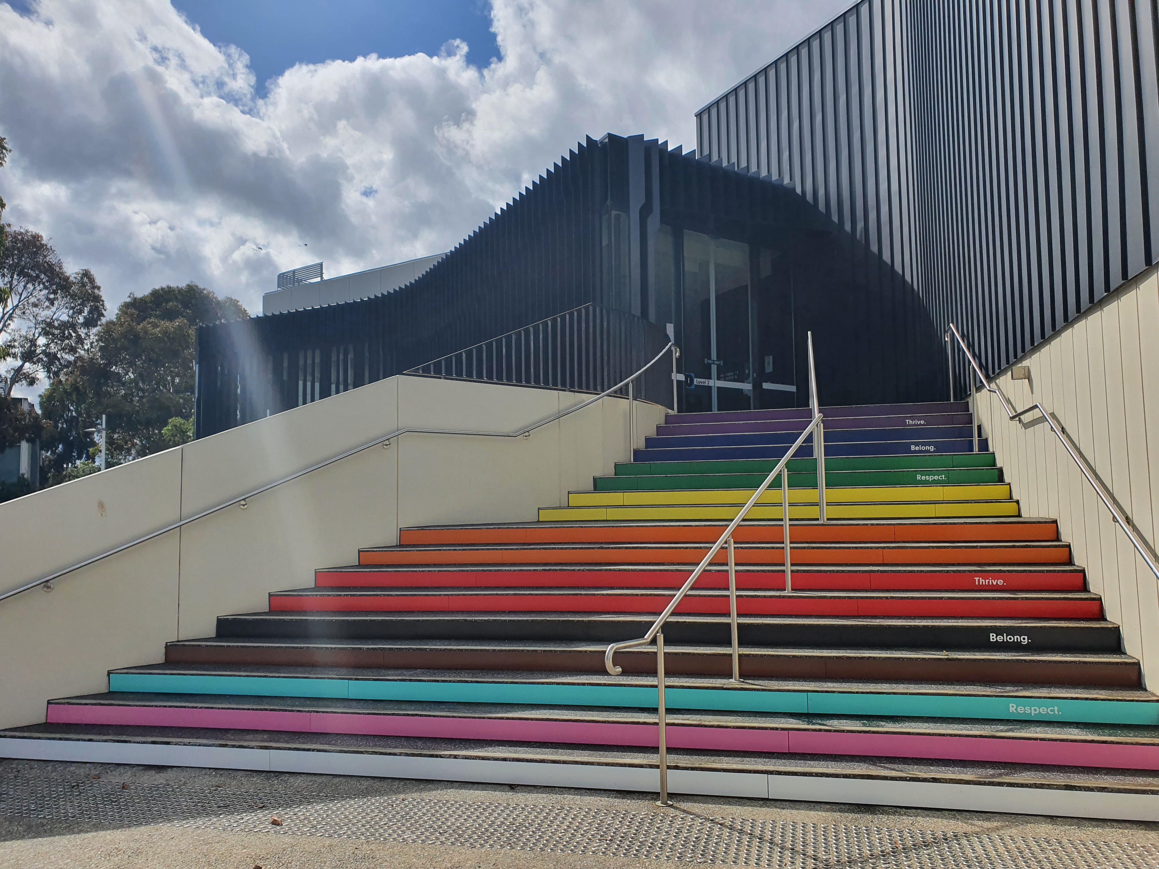 rainbow painted stairs