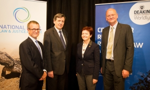 Victorian County Court Judge Gerard Mullaly, Victorian Attorney General the Hon Robert Clark, Deakin Vice-Chancellor Professor Jane den Hollander and Director of the Centre for Rural Regional Law, Mr Richard Coverdale.