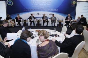Professor Fethi Mansouri (third from left) in Doha at the United Nations Alliance of Civilisations (UNAOC) forum on civil society.