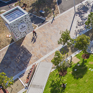 Aerial photo of Deakin Melbourne Burwood Campus' main walkway